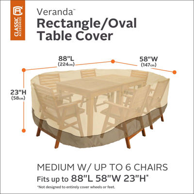 Classic Accessories® Veranda Medium Rectangular/Oval Table and Chairs Cover