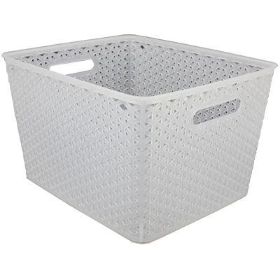 "Home Basics 11"" Wide Transparent Plastic Storage Basket"
