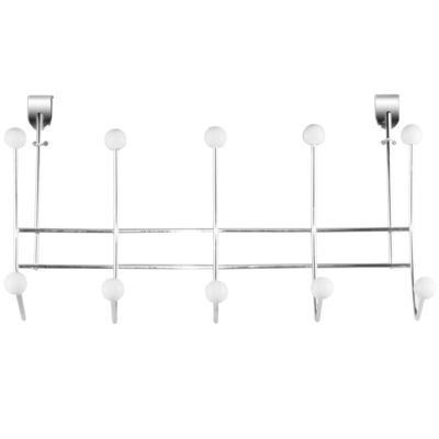 Home Basics Over-the-Door 5-Hook Chrome Hanging Rack