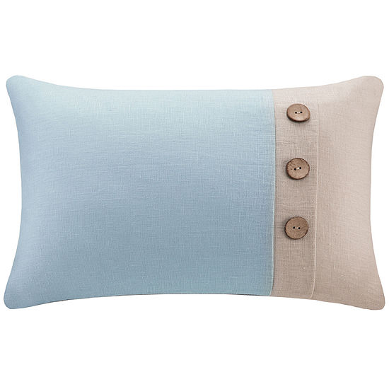 Madison Park Linen Three-Button Oblong Feather Pillow