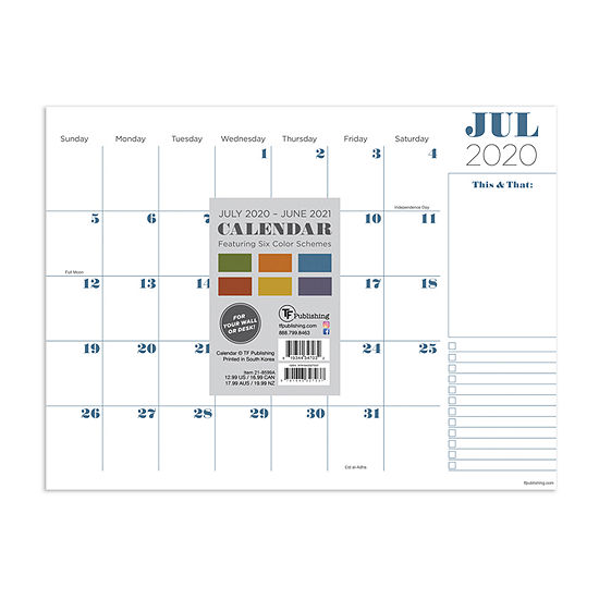 "Tf Publishing July 2020 - June 2021 Professional Mini 9"" X 12"" Desk Pad Monthly Blotter Desktop Calendar"