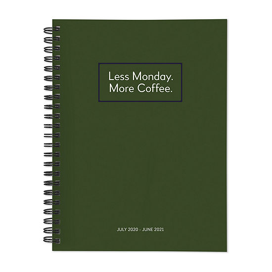 """Tf Publishing July 2020 - June 2021 Less Monday More Coffee Medium 6"""" X 8"""" Daily Weekly Monthly Planner + Coordinating Planning Stickers"""