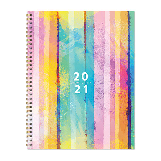 """Tf Publishing July 2020 - June 2021 Painted Stripe Large 8.5"""" X 11"""" Daily Weekly Monthly Planner + Coordinating Planning Stickers"""