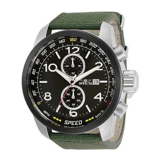 Invicta Aviator Mens Green Strap Watch-30732