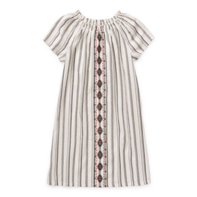Arizona Little & Big Girls Short Sleeve Striped A-Line Dress