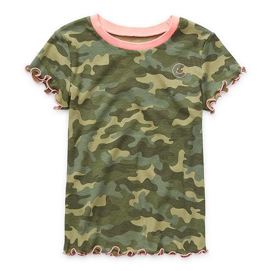 Arizona Ribbed Little & Big Girls Short Sleeve T-Shirt