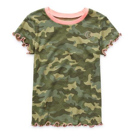 Arizona Ribbed Little & Big Girls Round Neck Short Sleeve T-Shirt, Medium (10-12) , Green