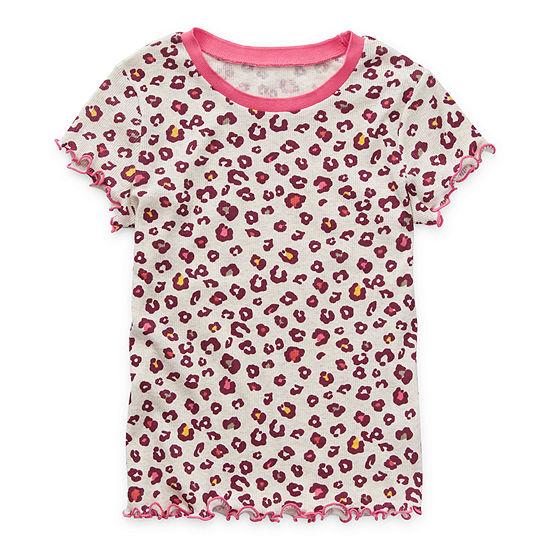 Arizona Ribbed Little & Big Girls Round Neck Short Sleeve T-Shirt