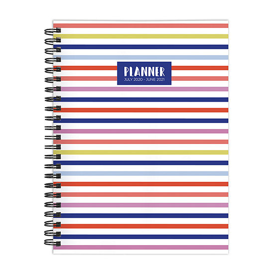 """Tf Publishing July 2020 - June 2021 Classic Color Stripes Medium 6"""" X 8"""" Daily Weekly Monthly Planner + Coordinating Planning Stickers"""
