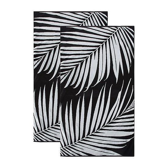 Loom + Forge Palm Leaf Organic Cotton Jacquard 2-Pack Beach Towel