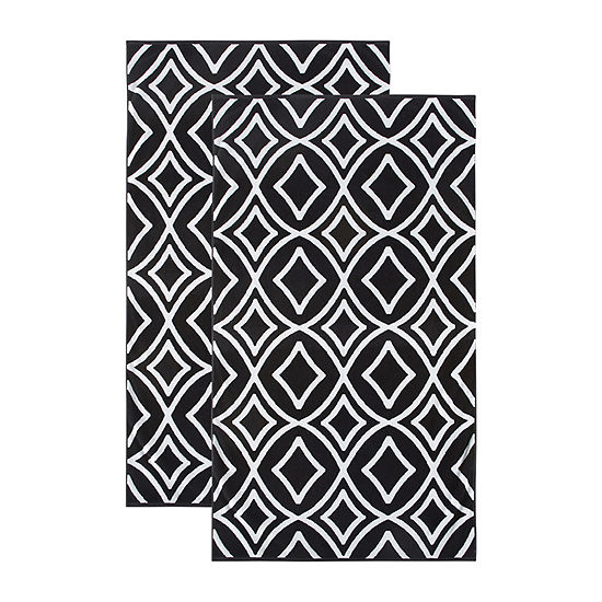 Loom + Forge Diamond Organic Cotton Jacquard 2-Pack Beach Towel