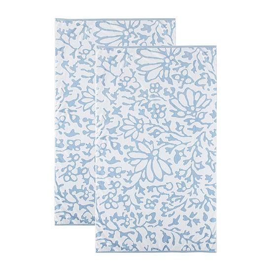 Linden Street Floral Organic Cotton Jacquard Beach Towel 2-Pack