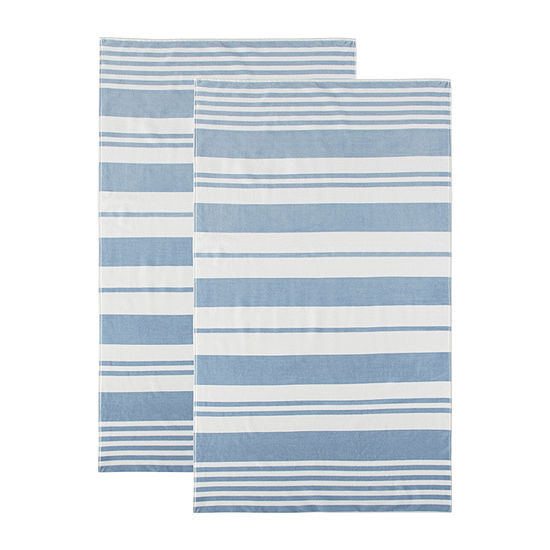 Linden Street Stripe Organic Cotton Jacquard Beach Towel 2-Pack