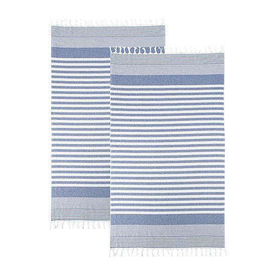 Linden Street Organic Cotton Flat Weave Stripe Beach Towel 2-Pack