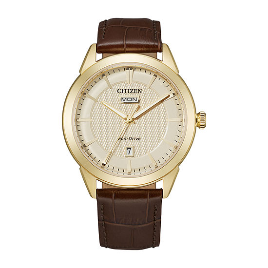 Citizen Mens Brown Leather Strap Watch-Aw0092-07q