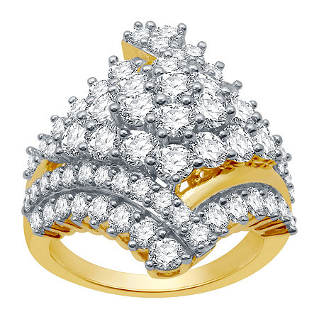 Womens 3 CT. T.W. Genuine Diamond 10K Gold Cluster Cocktail Ring, 8