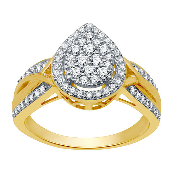 I Said Yes Womens 1/2 CT. T.W. Lab Grown White Diamond 14K Gold Over Silver Sterling Silver Engagement Ring