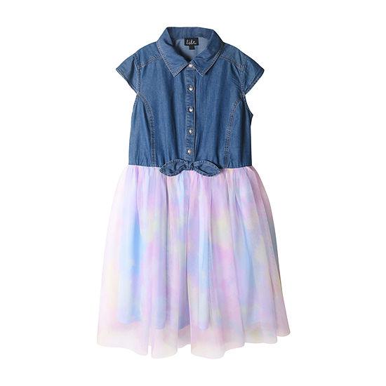 Lilt Little & Big Girls Belted Short Sleeve Fitted Sleeve Tutu Dress