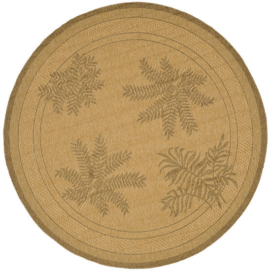 Courtyard Large Palm Fronds Indoor/Outdoor Round Rug