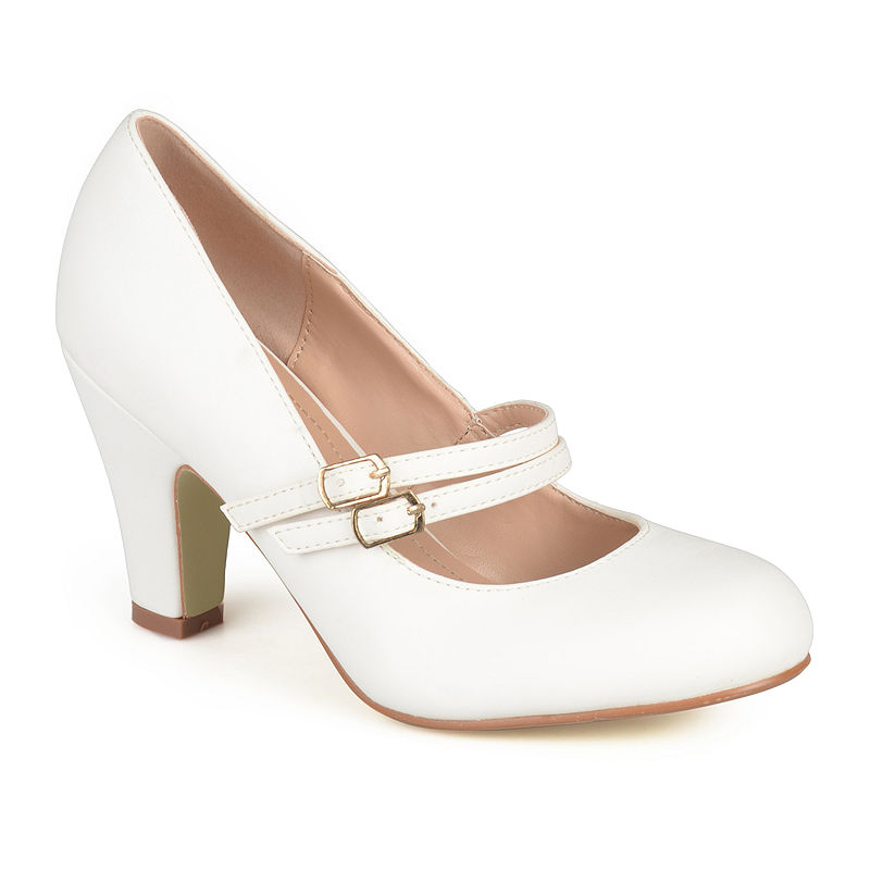1920s Style Shoes Journee Collection Windy Pumps Size 10 Medium Womens White $45.04 AT vintagedancer.com