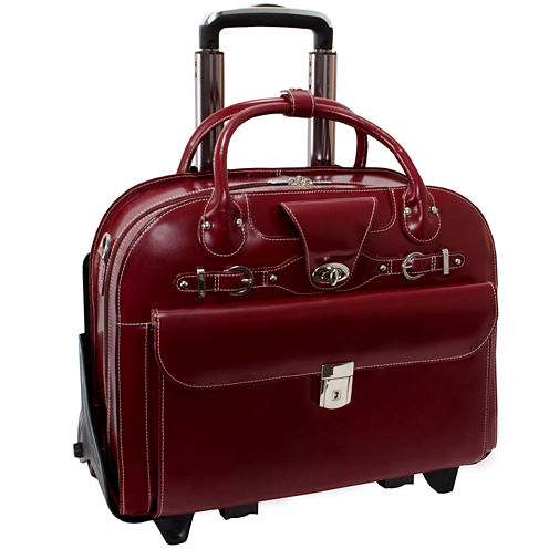 "McKleinUSA Roseville 15.4"" Leather Fly-Through™ Checkpoint-Friendly Detachable -Wheeled Laptop Briefcase"