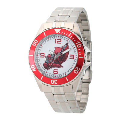 Marvel® Mens Deadpool Silver-Tone and Red Honor Bracelet Watch