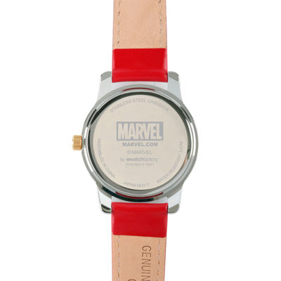 Marvel® Mens Deadpool White Dial Red Leather Strap Watch