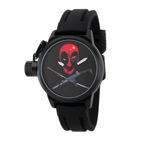 Marvel® Mens Deadpool Black Crown Protector Strap Watch