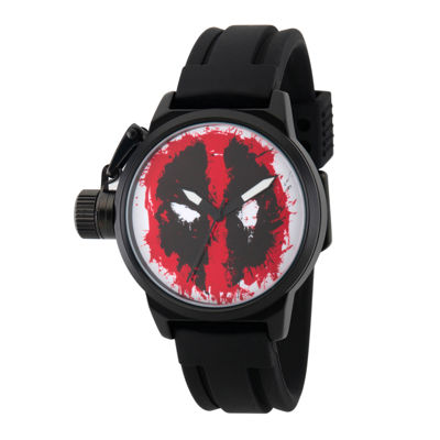 Marvel® Mens Deadpool Red Dial Black Rubber Strap Watch