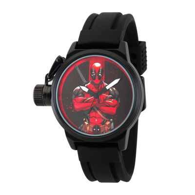 Marvel® Mens Deadpool Black Dial Black Rubber Strap Watch