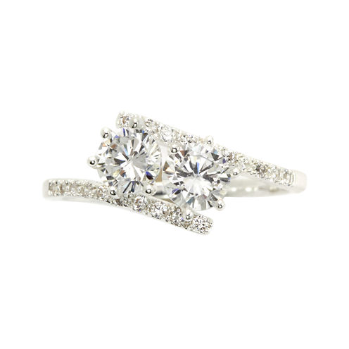 city x city® Cubic Zirconia Silver-Plated Two Stone Pave Ring