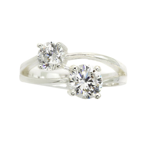 city x city® Cubic Zirconia Silver-Plated Two Stone Ring