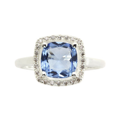 city x city® Blue Cubic Zirconia & Crystals Silver-Plated Brass Cocktail Ring