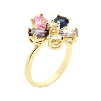 city x city® Multicolor Cubic Zirconia Flower Gold-Tone Silver-Plated Brass Ring