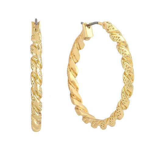 Monet® Gold-Tone Twist Hoop Earrings
