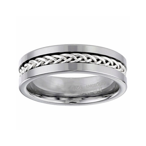 Mens 7mm Stainless Steel and Tungsten Carbide Wedding Band