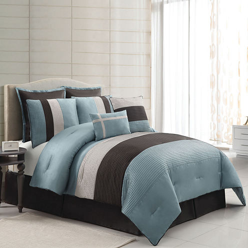 VCNY Essex 8-pc. Stripe Comforter Set