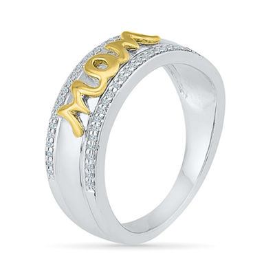 Womens 1/6 CT. T.W. Genuine White Diamond 10K Gold Over Silver Cocktail Ring