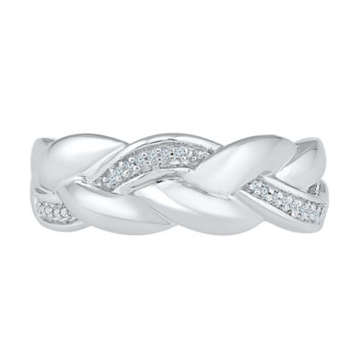 Womens Diamond Accent Genuine White Diamond Sterling Silver Crossover Ring