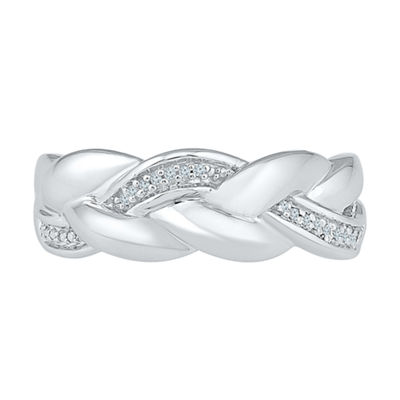 Womens Diamond Accent Genuine White Diamond Sterling Silver Crossover Cocktail Ring