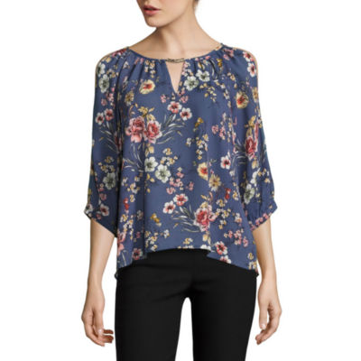 by&by3/4 Sleeve U Neck Blouse-Juniors