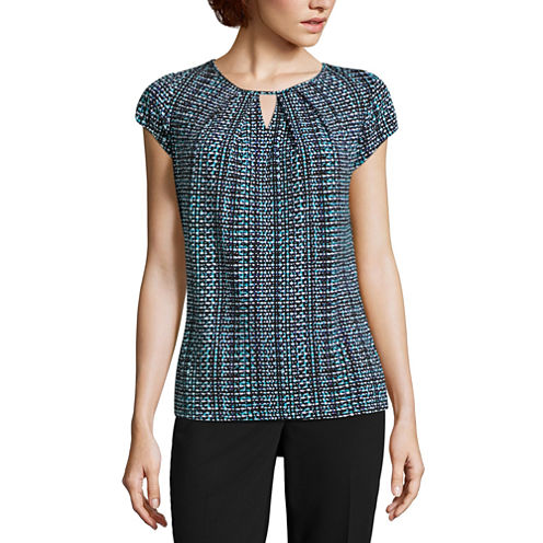 Liz Claiborne Short Sleeve Keyhole Neck T-Shirt-Womens