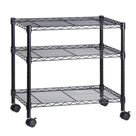 Honey-Can-Do® 3-Shelf Portable Multimedia Cart, Black