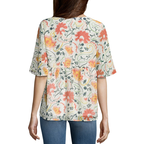 St. John's Bay Short Sleeve Y Neck Woven Blouse