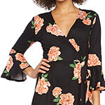 Alyx 3/4 Sleeve Floral Midi Wrap Dress
