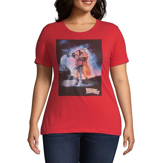 Crew Neck Short Sleeve Graphic T-Shirt-Juniors Plus