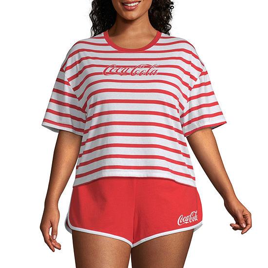 Womens Crew Neck Short Sleeve Graphic T-Shirt-Juniors Plus