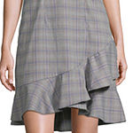 Weslee Rose Short Sleeve Plaid Midi Fit & Flare Dress