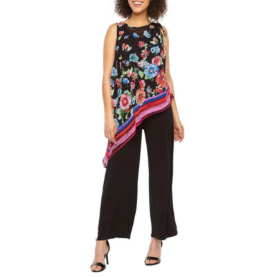 London Style Sleeveless Floral Popover Jumpsuit