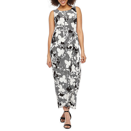 Robbie Bee Sleeveless Floral Puff Print Maxi Dress